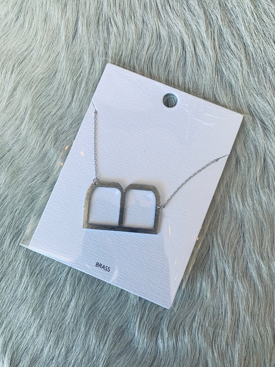"Silver ""B"" Initial Necklace"
