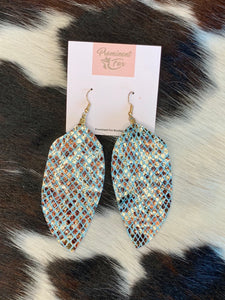 Exotic Print Feather Earrings