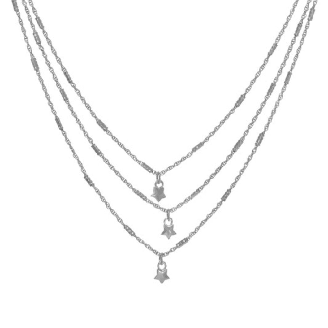 Silver Star Drop Charm Layer Necklace