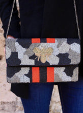 Load image into Gallery viewer, Kemper Camo Beaded Bee Bag Silver