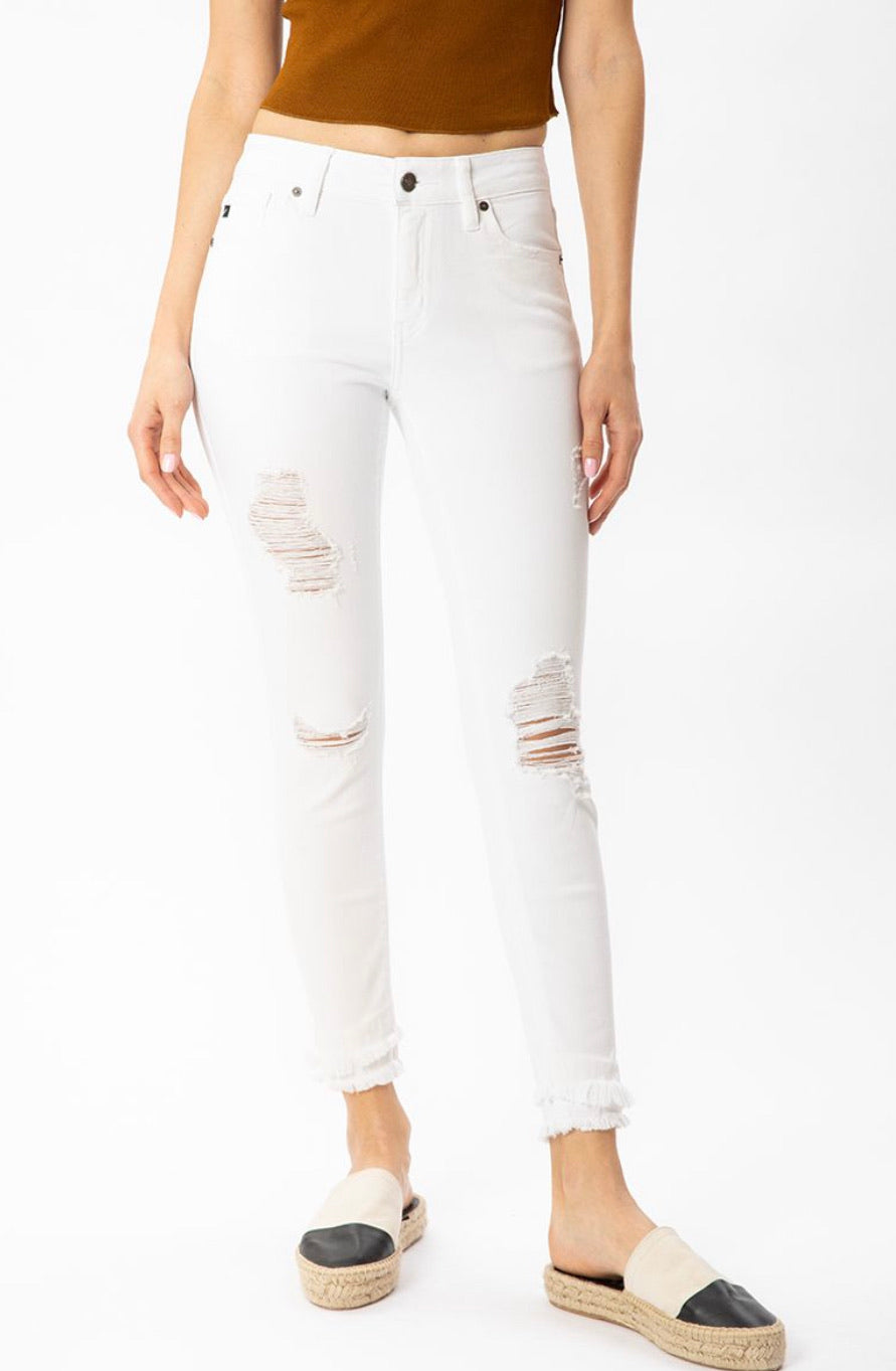 Kan Can White Mid Rise Distressed Ankle Skinny