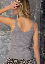 Load image into Gallery viewer, Simple Moments Ribbed V-Neck Tank Top - Gray