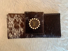 Load image into Gallery viewer, Keep It Gypsy LV Wallet - Mocha & White Cowhide
