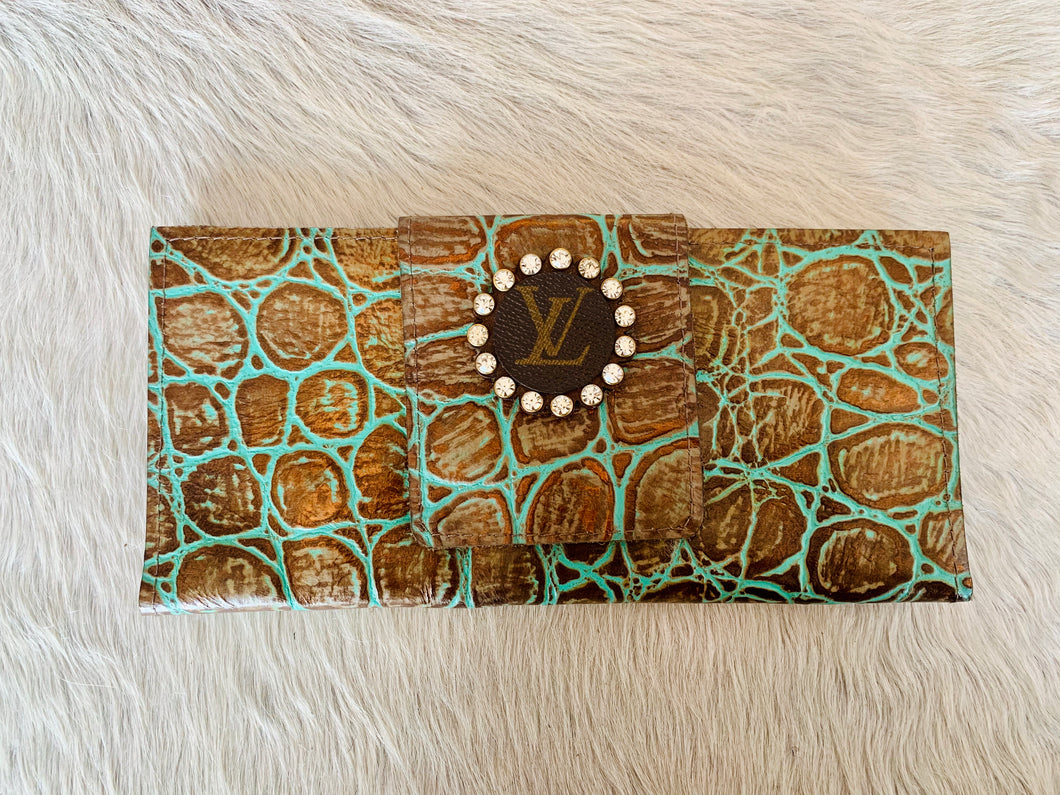 Keep It Gypsy LV Wallet - Turquoise & Brown Embossed Leather