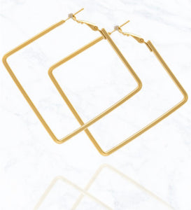 Matte Gold Square Earrings