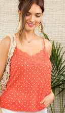 Load image into Gallery viewer, Coral & White Spotted Lace Cami