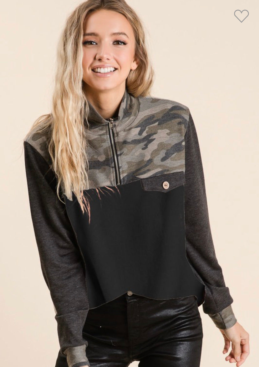 Camo & Black Quarter Zip Long Sleeve Pullover