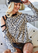 Load image into Gallery viewer, Leopard & Black Strappy Long Sleeve Top