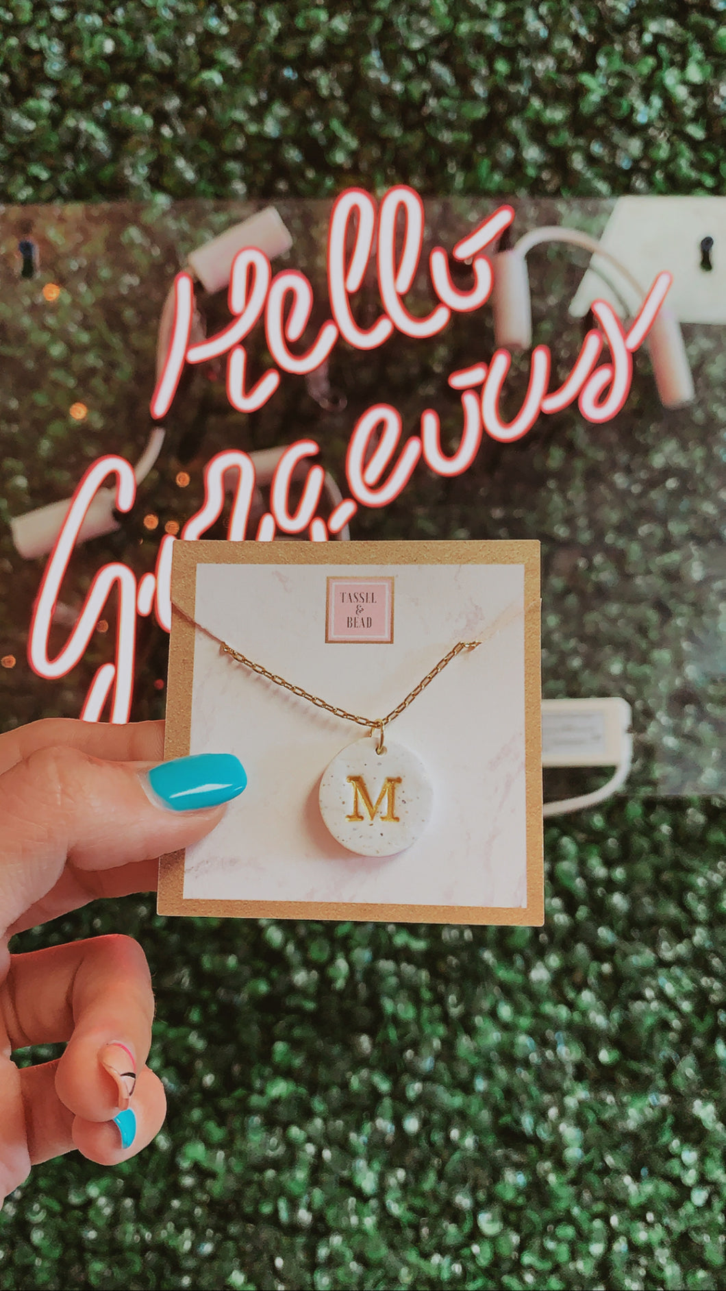 "T&B ""M"" Circle Initial Necklace"