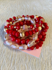 Red Stacked Bracelet Set