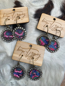 Keep it Gypsy Colorful Croc Studded Hoop Style Earrings