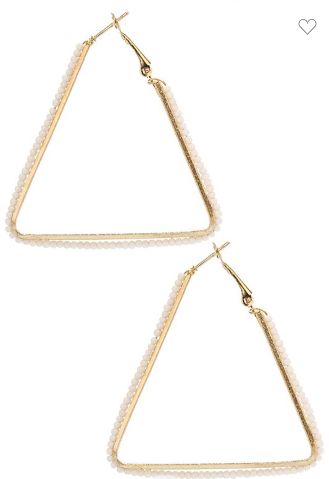 White Beaded Triangle Hoop
