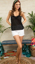 Load image into Gallery viewer, Black & White Spotted Lace Cami