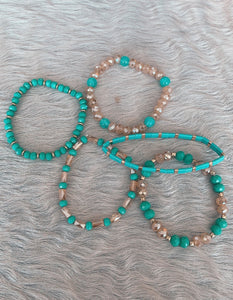 Turquoise & Taupe Crystal Beaded Stacked Bracelet Set
