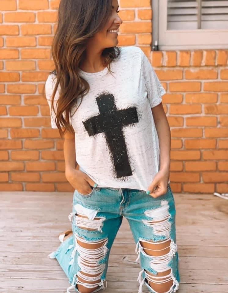 Paint Splatter Cross Crew Neck Tee