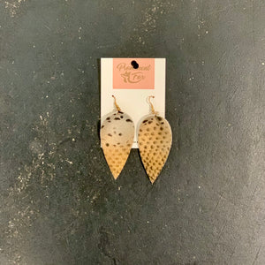 Leather Gold Print Earrings