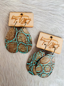 Keep It Gypsy Turquoise & Brown Embossed Leather Earrings