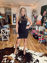 Load image into Gallery viewer, Business As Usual Black Crochet Lace Dress