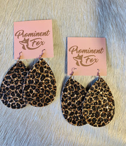 Rose Gold Sparkle Leopard Earrings