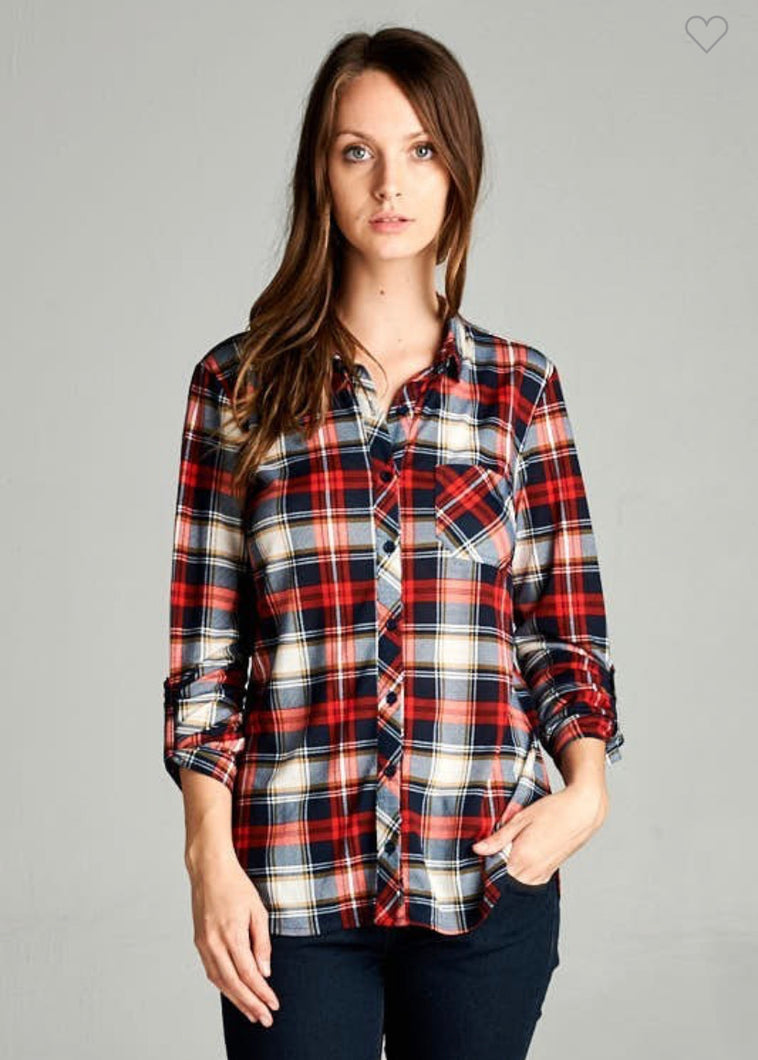 Red & Navy Plaid Flannel