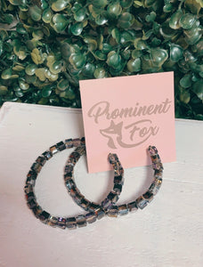 Purple/Grey AB Chunky Crystal C Shape Hoops