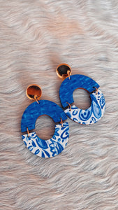 Audra Style Amanda Earrings - Blue & White