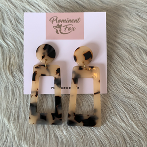 Rectangle drop Tortoise Acetate Earrings 2.5""