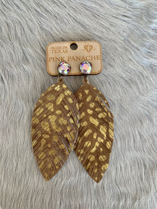 Pink Panache Brown Cowhide Feather earrings w/ Gold Splatter