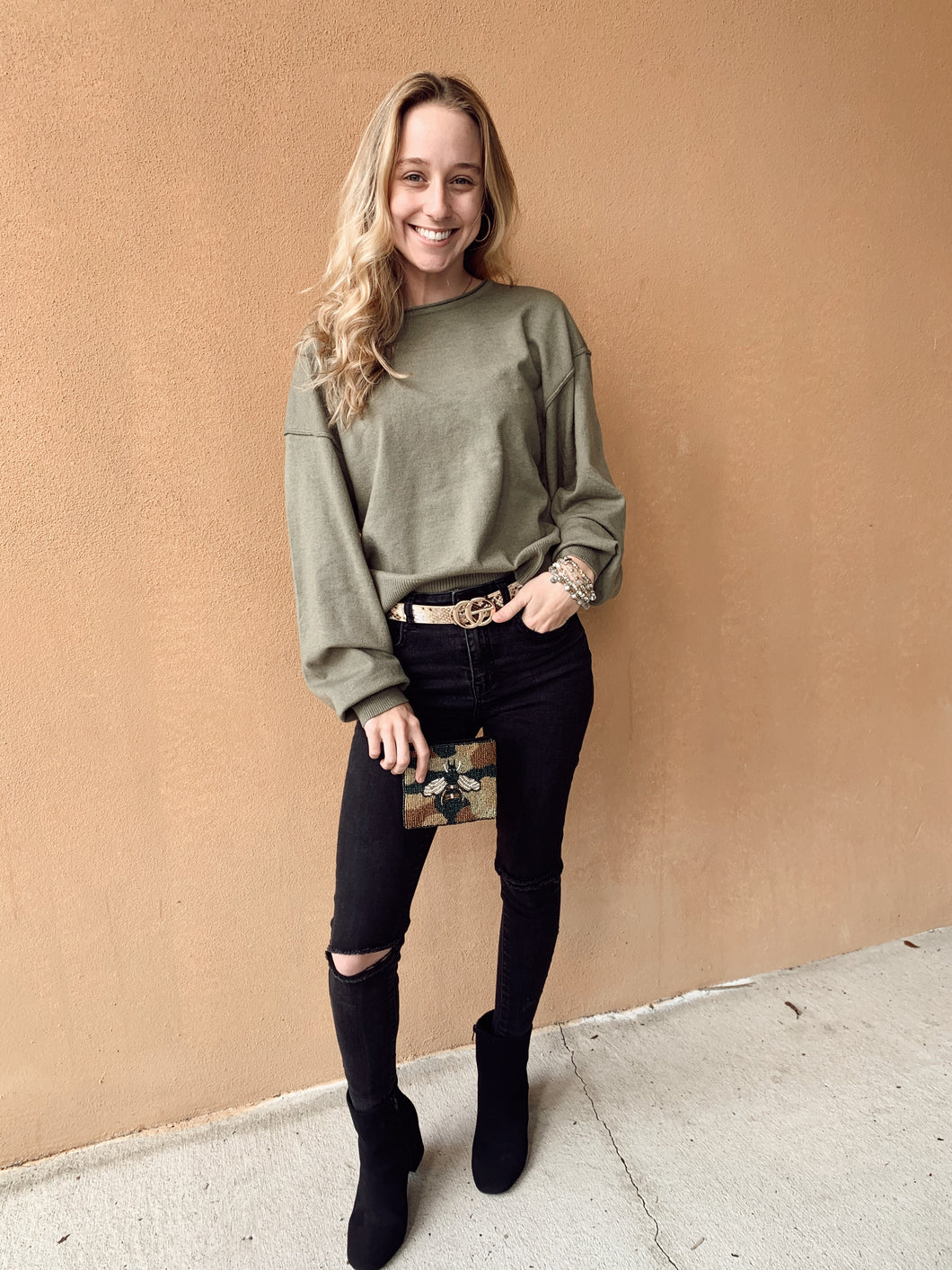 Olive Boat Neck Sweater