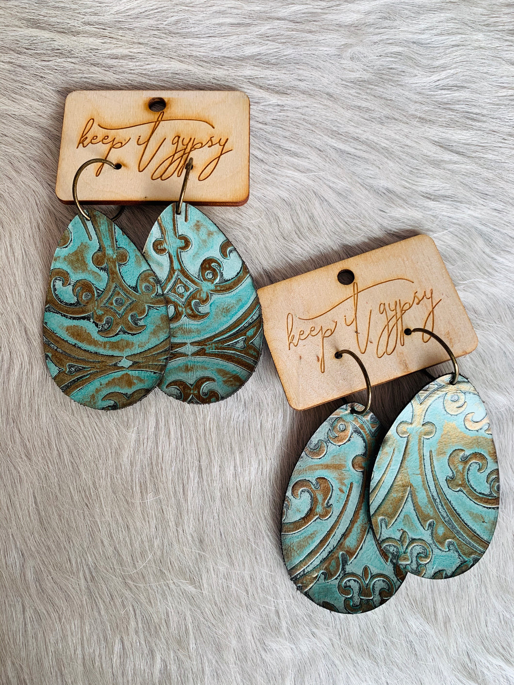 Keep It Gypsy Turquoise & Bronze Embossed Leather Earrings