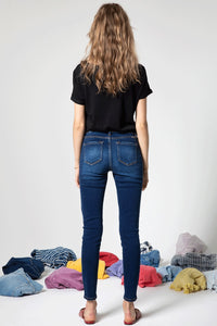 Kan Can Mid Rise Distressed Super Skinny Jeans