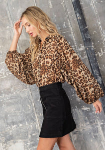 Leopard Print Button Down Blouse