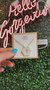 "T&B ""T"" Hexagon Initial Necklace"