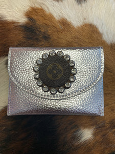 Keep It Gypsy Metallic Silver Credit Card Wallet w/ LV