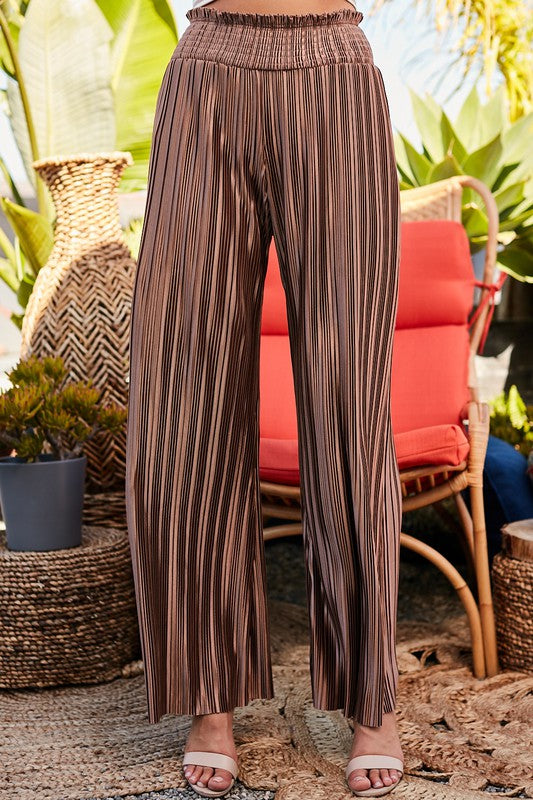 Better Latte Than Never Mocha Pleated Palazzo Pants