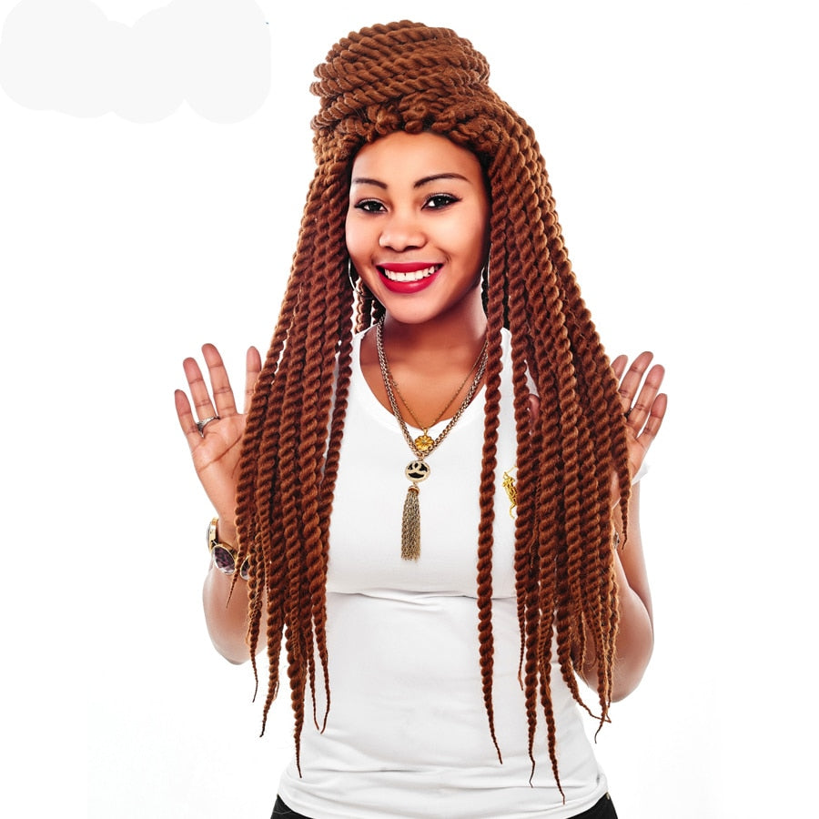 Crochet Braids Burgundy Black Blonde Silver Havana Twist Synthetic