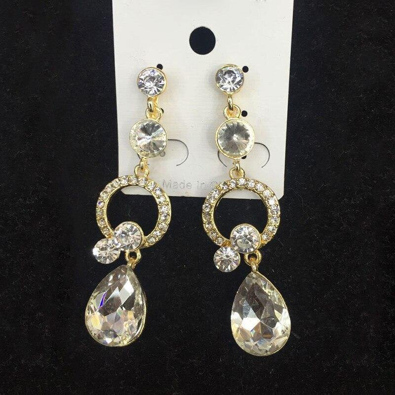 12 Colors Choose Rhinestone Crystal Drop Shape Clip on Earrings No Pierce - nejomisfindings
