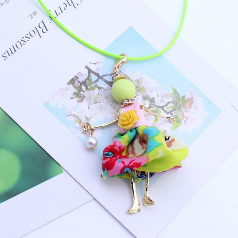 Lovely Imitation Pearls Sweet Girls Doll Pendant Long Necklace Trendy Jewelry - nejomisfindings
