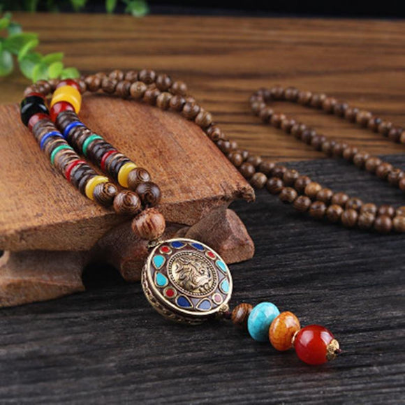 Vintage Nepal Long Buddhist Mala Wood Beaded Pendant & Necklace