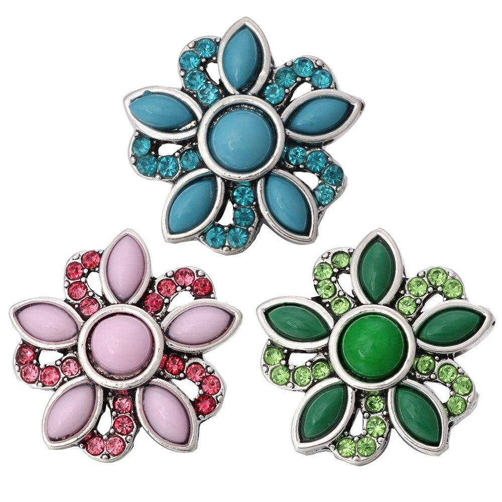 Multicolor Beads Flower Jewelry Beads Snap Buttons Fit 18mm Snaps - nejomisfindings