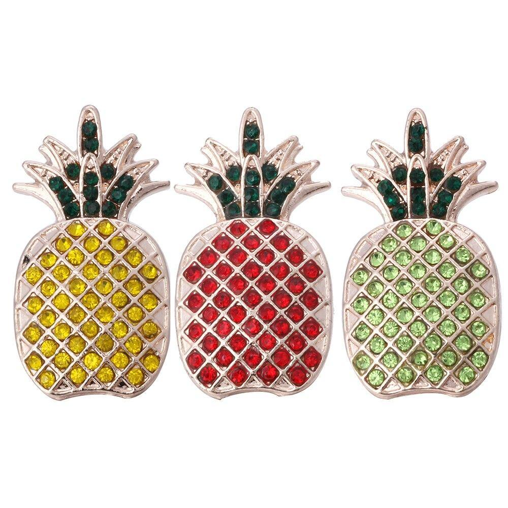 Pineapple Rhinestone 18mm Snap Buttons Fit Snap Button Charms Jewelry - nejomisfindings