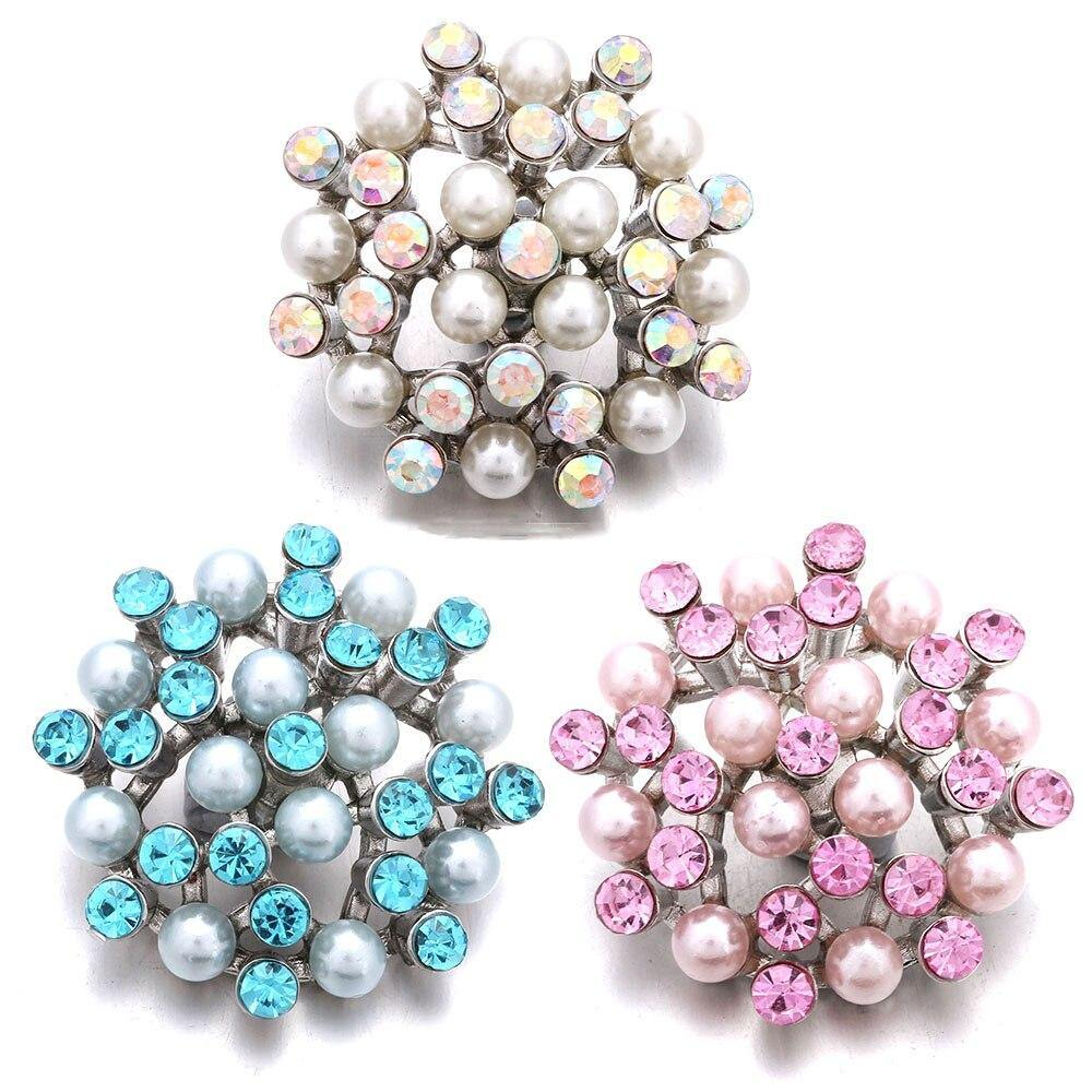 Snap Jewelry Rhinestone Crystal Pearl Flower Snap Buttons Fit 18mm Snap Button - nejomisfindings