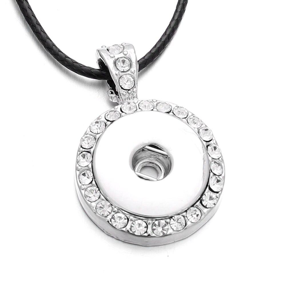 Assorted Styles 18mm Snap Button Crystal Necklace Pendant Bead Chain - nejomisfindings
