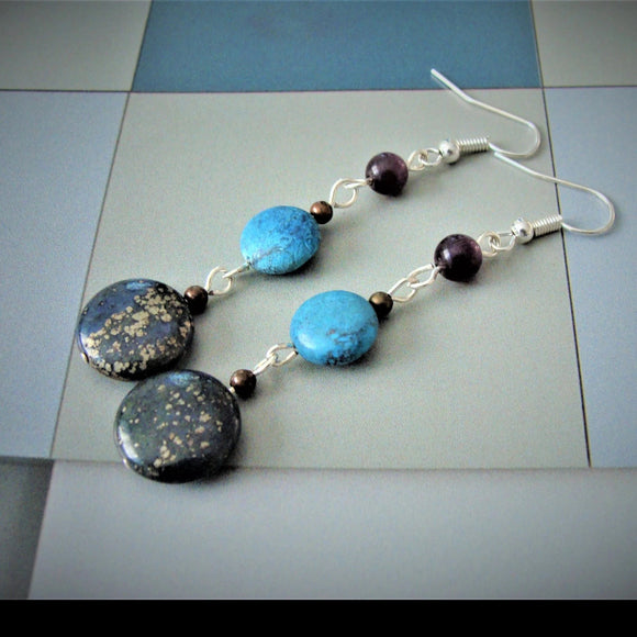 Blue Lapiz Turquoise Beaded Handmade Earrings