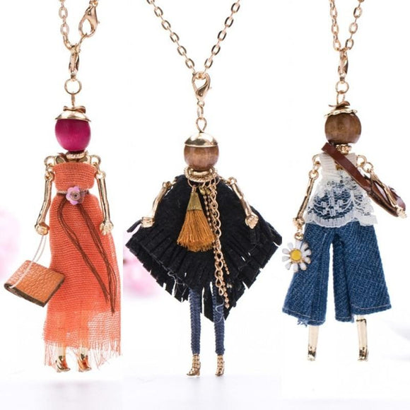 Doll Pendant Necklace Women Long Chain Fashion Statement Jewelry