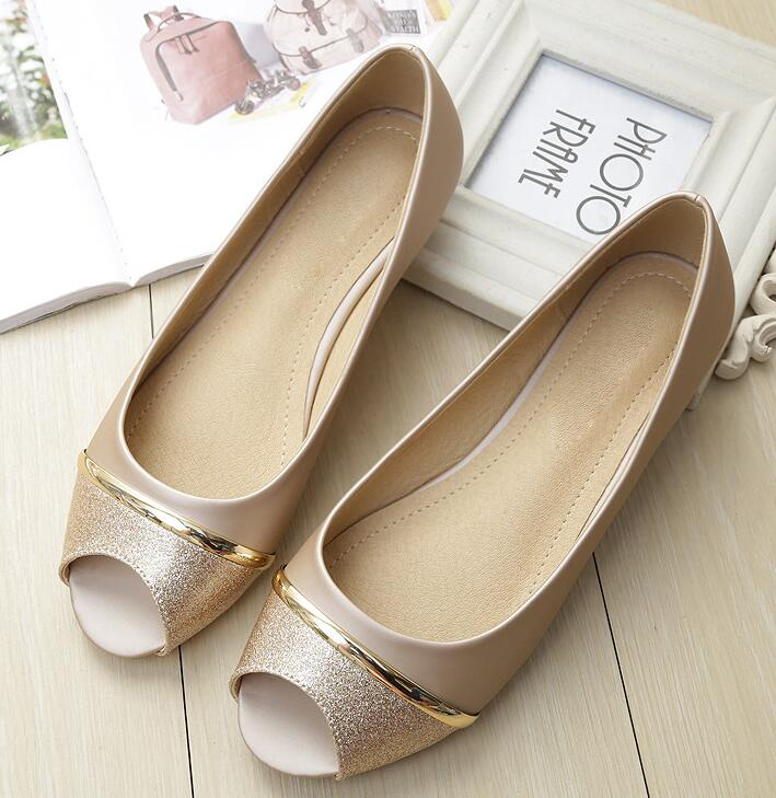 Fashion Women Flats Peep Toe Flats Comfortable PU Leather Two Tone Shoes - nejomisfindings