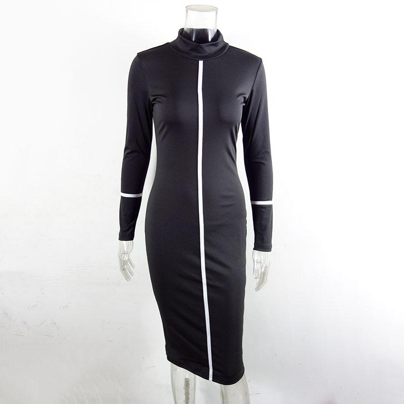 Long Sleeve Autumn Turtleneck Black White Brown Bodycon Long Dress - nejomisfindings