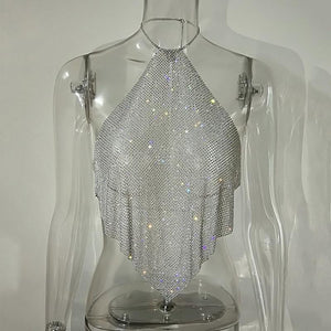 Crystal Diamond Crop Top Exotic Tank Top Backless Summer Beach Halter