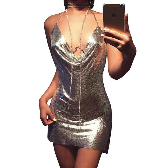 Halter Metal Party Dresses Gold Silver Backless Sequins Women Dress