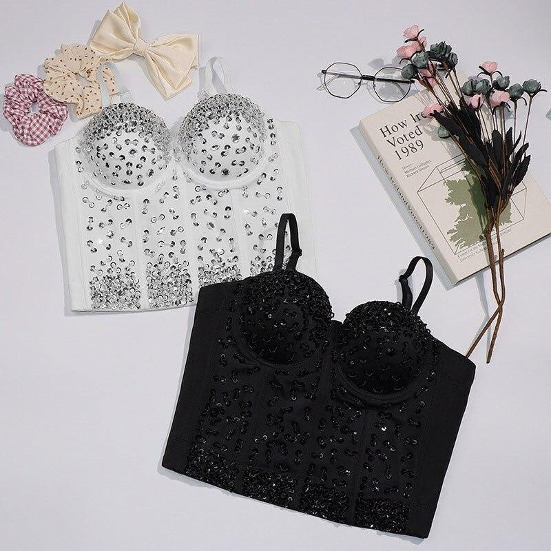 Sequins Beading Top White Black Sleeveless Bustier Tank Tops Party Corset - nejomisfindings